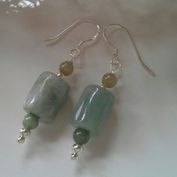 Burmees Jadeite & Jade Sterling Silver Earrings