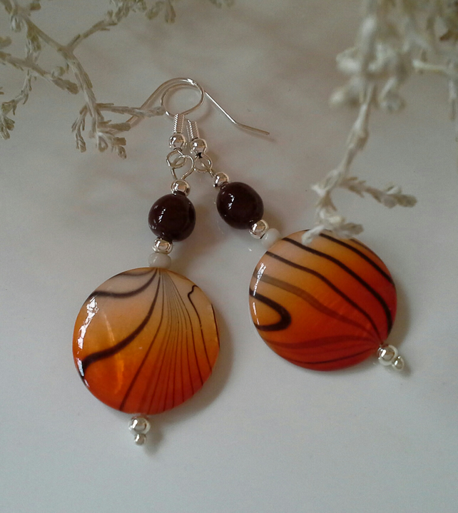 Animal Print Mother of Pearl Silver Plated Earrings