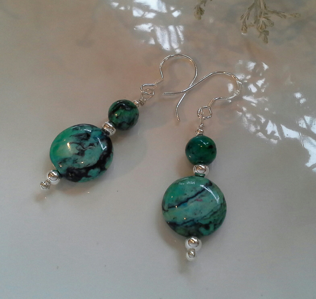 Turquoise (Stabilised) Sterling Silver Earrings