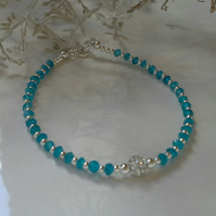 Rare 4.68cts Neon Blue Apatite Bracelet Sterling Silver