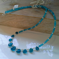 Rare 43.10ct Neon Blue Apatite Sterling Silver Necklace