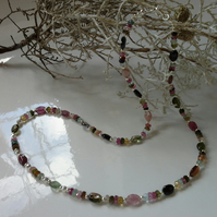 35.15ct Genuine Rainbow Tourmaline Dainty Sterling Silver Necklace