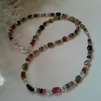 41.55ct Genuine Rainbow Tourmaline Dainty Sterling Silver Necklace