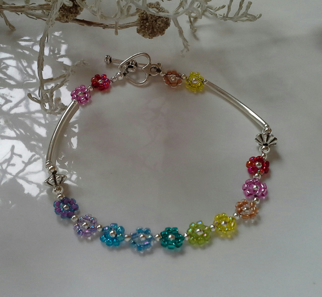 Dainty,  Pretty,  Rainbow,  Flower Heart Bracelet Silver Plated