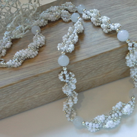 Agate & Seed Bead Necklace Silver Plated