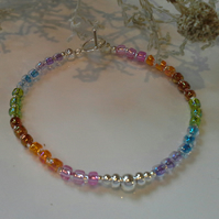 "Rainbow Dainty Skinny Bracelet Silver Plated 8"" inches"