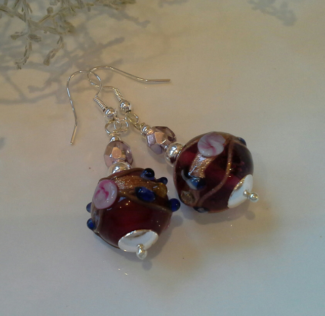 Hand Blown Lampwork & Crystal Bead Earrings Silver Plated