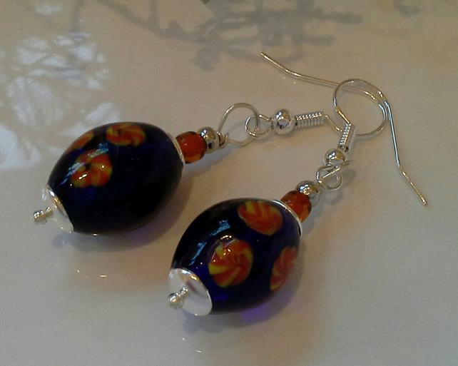Hand Blown Lampwork Glass Bead Silver Plated Earrings