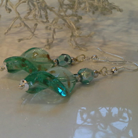 Pritty,  Feminine Twisted Hand Blown Glass Bead Silver Plated Earrings