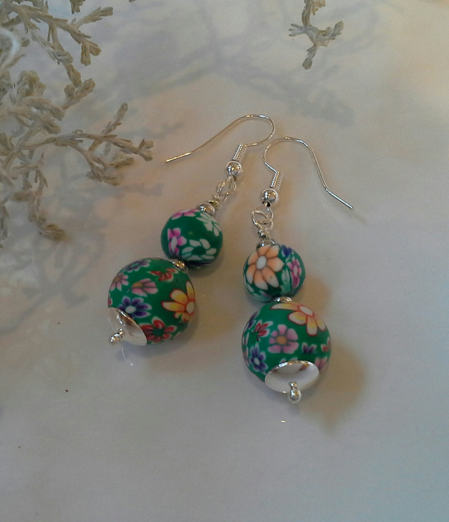Pretty,  Feminine, Polymer Clay Silver Plated Earrings