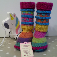 Baby Bootie Socks, Leg Warmers with Marino Wool 3-9 months size