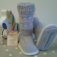 Baby Bootie socks, Leg Warmers with Marino Wool 0-6 months size