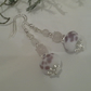 Hand Made Frit Lampwork Bead & Rose Quartz Earrings Silver Plate