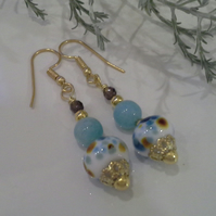Hand Made Lampwork Bead, Blue Quartzite, Smokey Quartz, Gold Plate