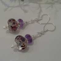 Hand Made Lampwork Bead & Faceted Amatrine Earrings Silver Plate