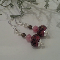 Hand Made Frit Lampwork Beads,  Quartzite,  Smokey Quartz  Earrings Silver Plate