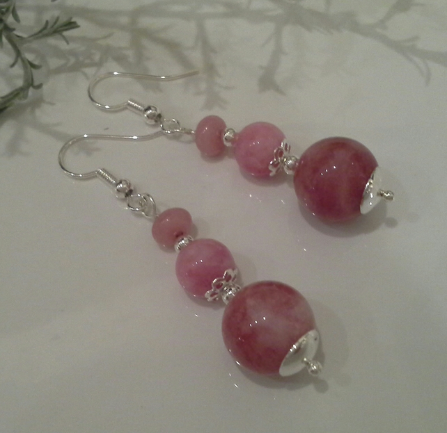 Beautiful Pink Quartzite Sterling Silver Earrings