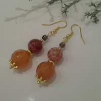 Snakeskin Agate, Agate & Smokey Quartz Earrings Gold Plate