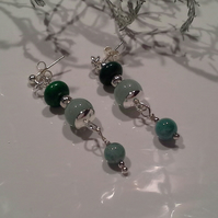 Aventurine,  Quartzite Stud Dangle Earrings Silver Plate