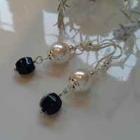 Blue Jade & White Shell Pearl Dangle Earrings