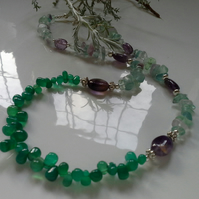 Green Onyx,  Amethyst, Fluorite Necklace Silver Plated