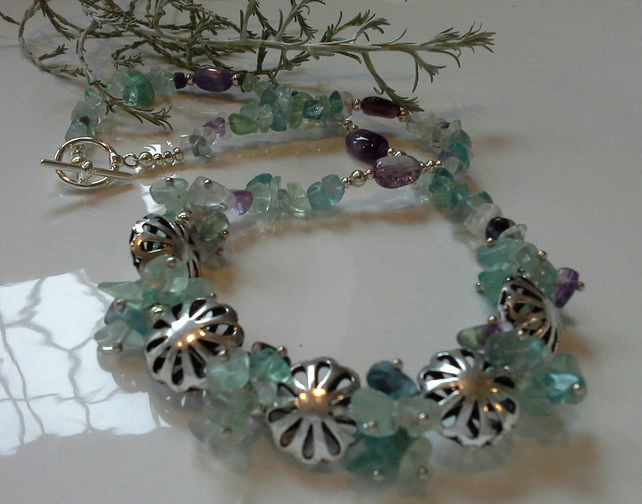 Fluorite Necklace & Amethyst Silver Plated