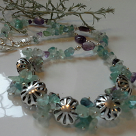 Fluorite & Amethyst Necklace Silver Plated