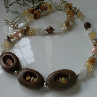 Wood, Citrne Moonstone, Agate, Shell Pearl Necklace