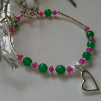 Green & Pink Faceted Quartzite Heart Bracelet