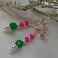 Dainty Green & Pink Faceted Quartzite Stud Earrings