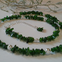 A Grade Russian Diopside Nugget Necklace Silver Plate