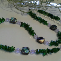 A Grade Russian Diopside,  Lavender Amethyst & Abalone Shell Necklace