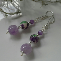 Lavender Amethyst , Faceted Amethyst & Jasper Earrings