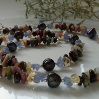 Ombre Multi Gemstone & Fresh Water Pearl Necklace Sterling Silver