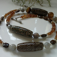 Garnet, Moonstone, Agate, Bronzite Long Necklace