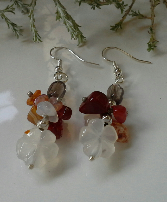 Canelian & Smokey Quartz Cluster Earrings Silver Plated