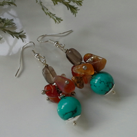 Canerlian & Turquoise (Recon;)  Smokey Quartz Cluster Silver Plated Earrings
