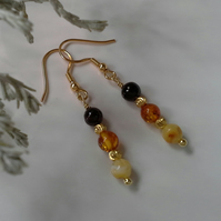 Baltic Amber Drop Yellow Gold Vermeil Earrings