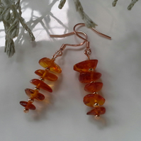 Baltic Amber Rose Gold Vermeil over 925 Sterling Silver Earrings