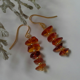Baltic Amber Yellow Gold Vermeil over 925 Sterling Silver Earrings