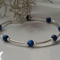 "15.03cts  Himalyan Kyanite Sterling Silver Bracelet 8"" INCHES"