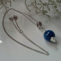 """Himalayan Blue Kyanite Sterling Silver Pendant and Sterling Silver Chain 18""""inch"""