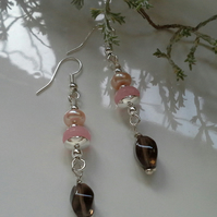 Pink Jade,  Freshwater Pearl & Smokey Quartz Dangle Earrings Silver Plated