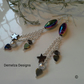 Rainbow Heamotite, Shell Pearl Dangle Earrings Silver Plated
