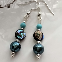 Abalone Shell, Howlite & Shell Pearls Hook Design  Earrings  Silver Plate