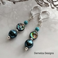 Abalone Shell, Howlite & Shell Pearls  Earrings  Silver Plate