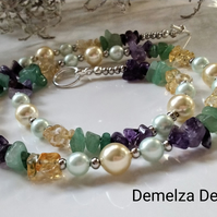 Amethyst,  Citrine, Aventurine & Shell Pearl Necklace