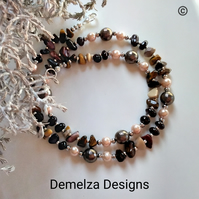 Mookite, Indian Red Garnet & Shell Pearl Necklace