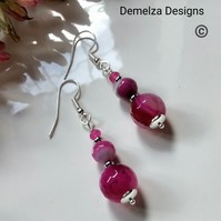 Pink Agate & Quartzite Earrings Silver Plated