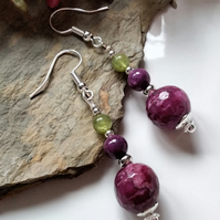 Agate & Quartzite & Peridot Silver Plated Earrings
